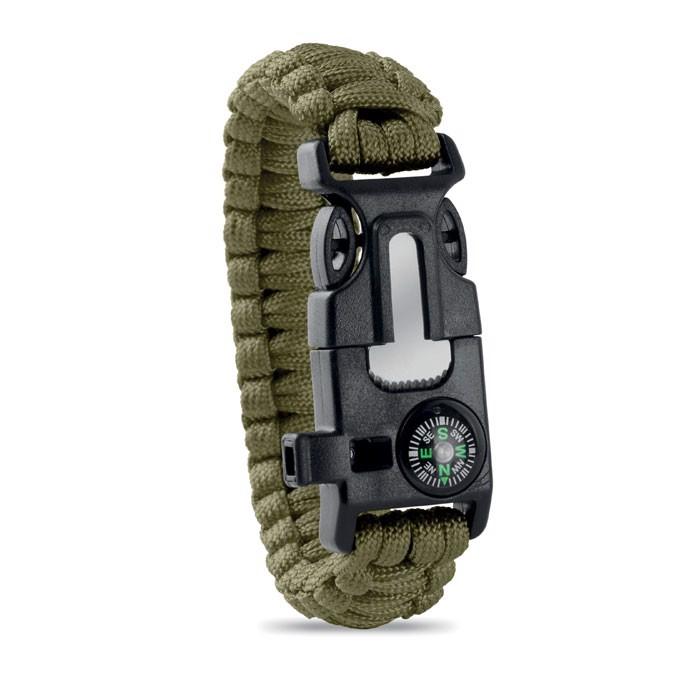 Bezpečnostní náramek Survival - green