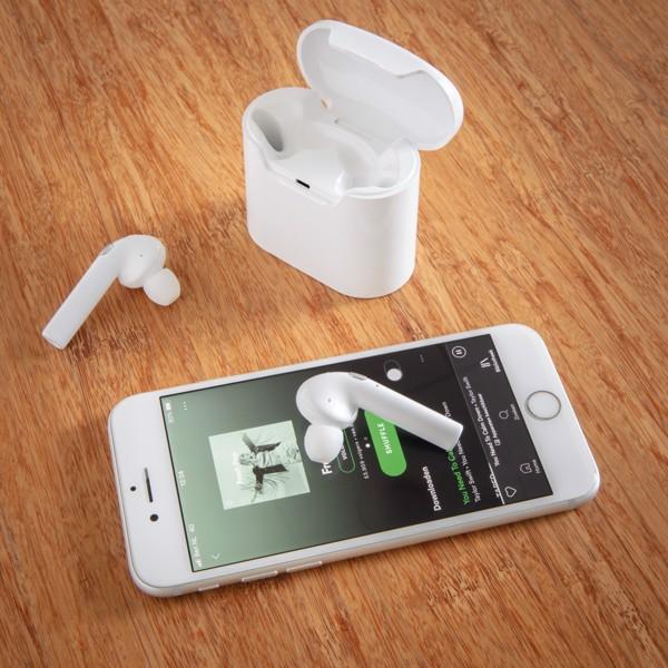 Skutečně bezdrátová sluchátka Liberty v nabíjecí krabičce - Bílá