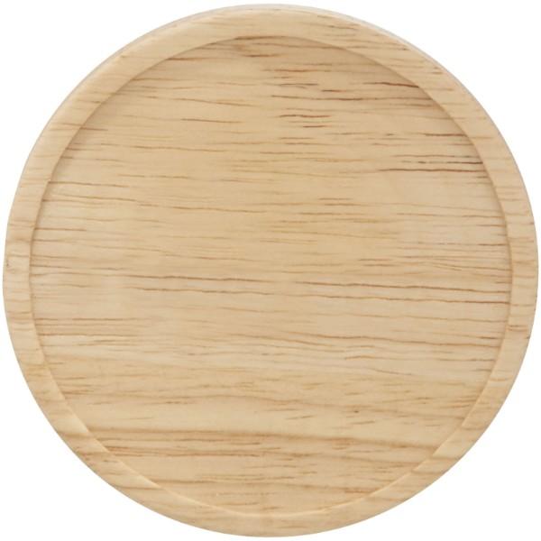 Hearth 400 ml Keramiktasse mit Holz Deckel & Untersetzer - Schwarz / Weiss