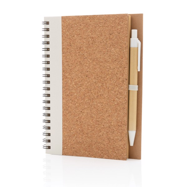 Cork spiral notebook with pen - White