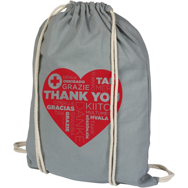 Oregon 100 g/m² cotton drawstring backpack - Grey