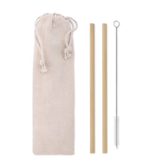 Komplet dveh bambusovih slamic Natural Straw