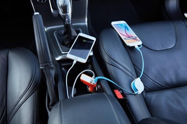 Duální nabíječka do auta snožem na pás a kladívkem - Oranžová / Stříbrná