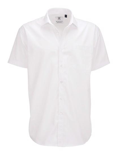 Poplin Shirt Smart Short Sleeve / Men - White / 4XL