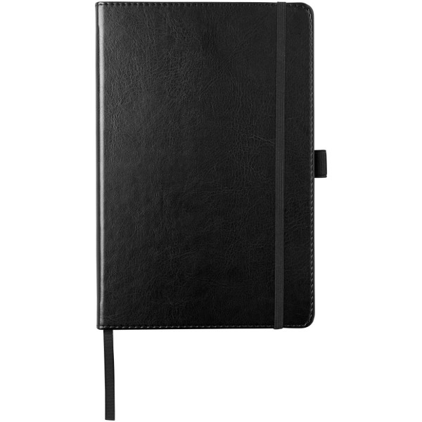 Coda A5 leather look hard cover notebook - Solid black