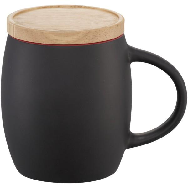 "Taza de cerámica de 400 ml con base de madera ""Hearth"" - Negro intenso / Rojo"