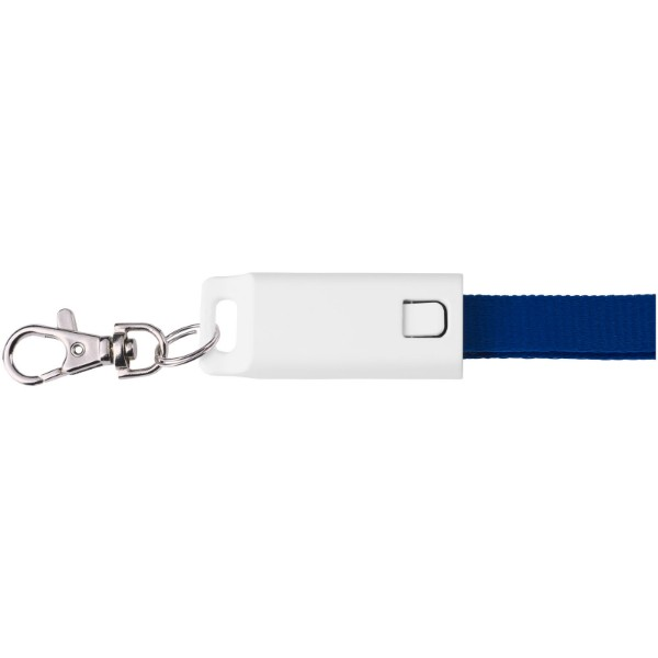 Trace 3-in-1 charging cable with lanyard - Royal blue
