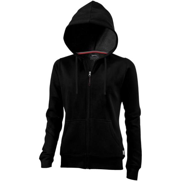 Open full zip hooded ladies sweater - Solid black / XL