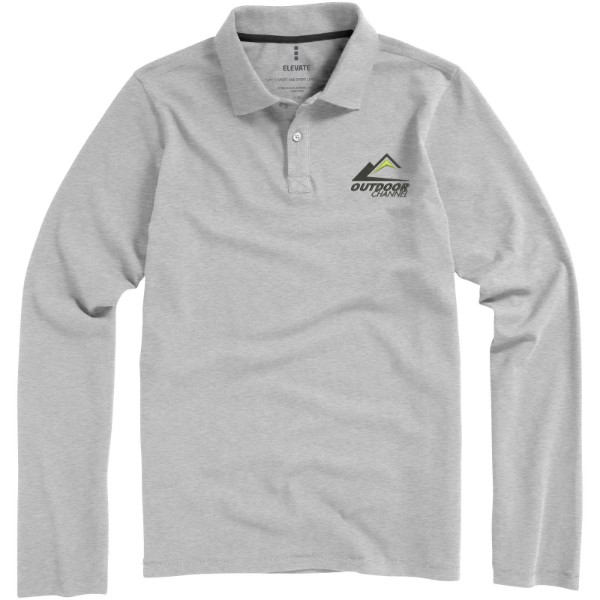 Oakville long sleeve men's polo - Grey melange / XL