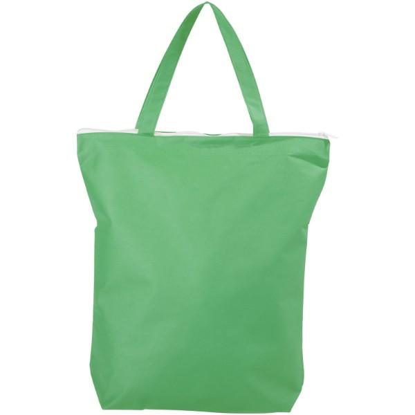 Privy zippered short handle non-woven tote bag - Green