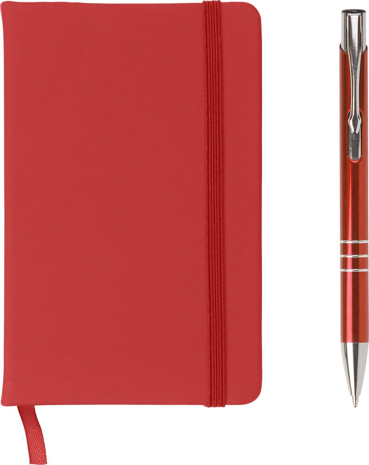 PU notebook with aluminium ballpen - Red