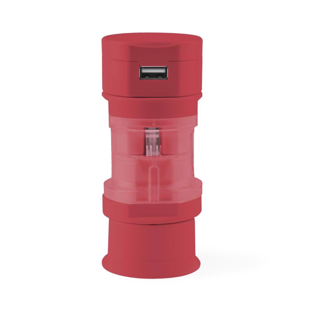 Adaptador Enchufes Tribox - Rojo