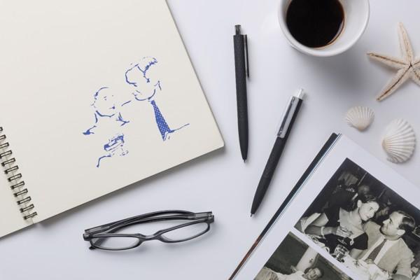 X3 puha tapintású, fekete felületű toll - Fekete / Fekete