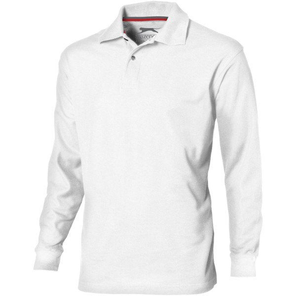 Point long sleeve men's polo - White / XXL