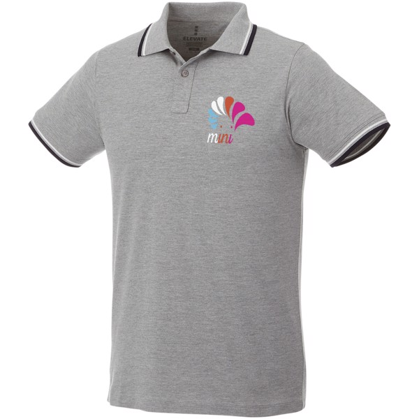 Fairfield short sleeve men's polo with tipping - Grey melange / Navy / White / XXL