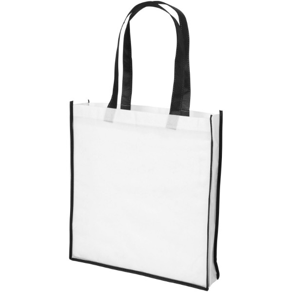 Contrast large non-woven shopping tote bag - White / Solid black