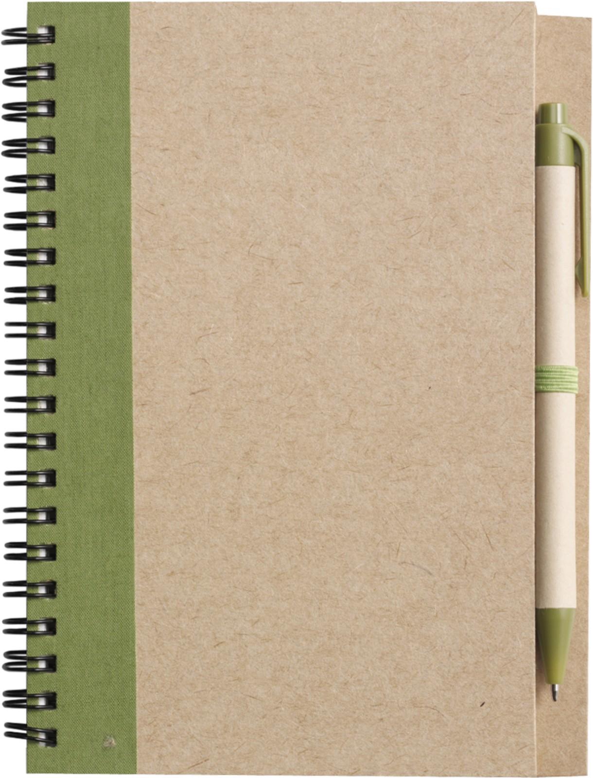 Wire bound notebook with ballpen. - Light Green