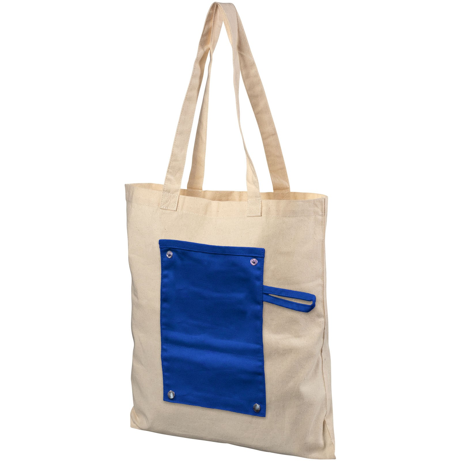 Snap 180 g/m² roll-up buttoned cotton tote bag - Process Blue