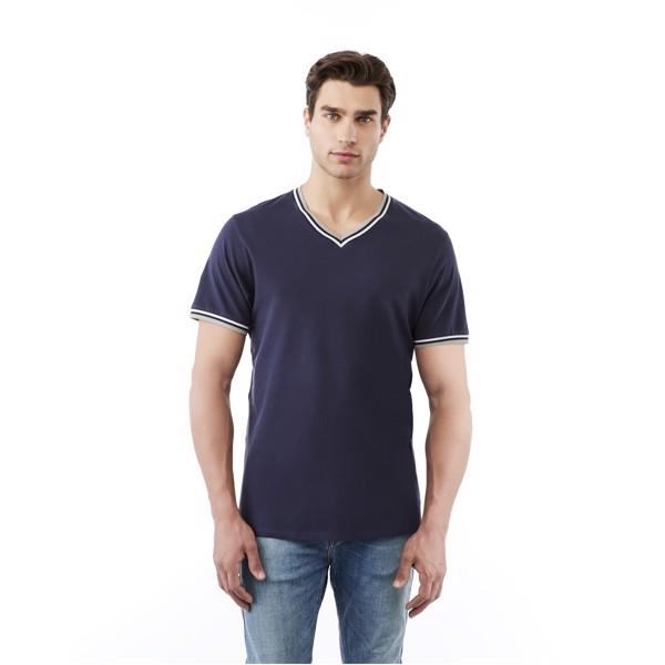 Elbert short sleeve men's pique t-shirt - Grey Melange / Navy / White / XL