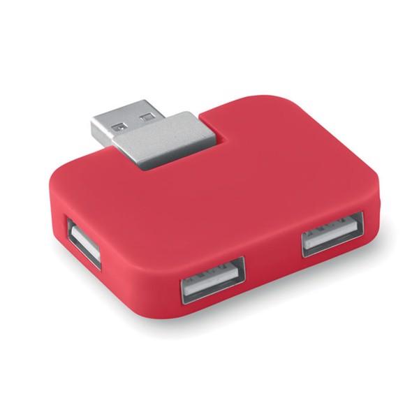 4 port USB hub Square - Red