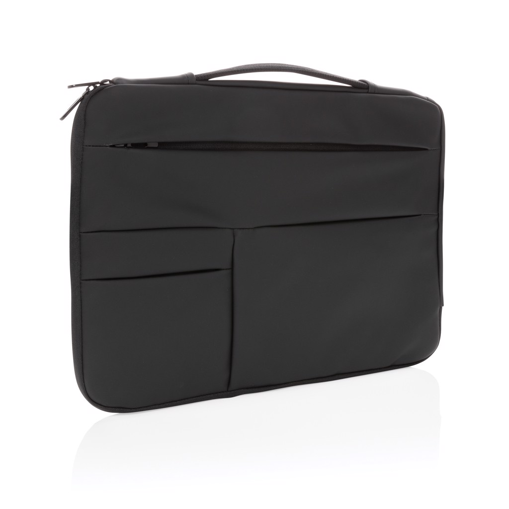 """Smooth PU 15.6"""" laptop sleeve with handle - Black"""