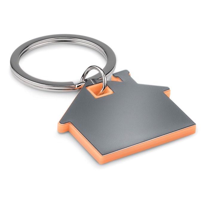 House shape plastic keyring Imba - Orange