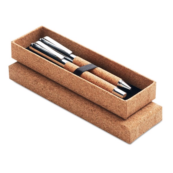 Metal Ball pen set in cork box Quercus