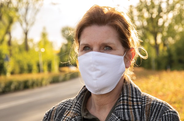Reusable 2-ply cotton face mask - White