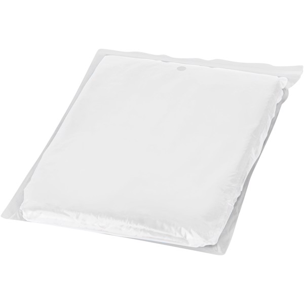 Ziva disposable rain poncho with storage pouch - White