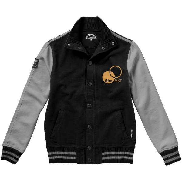 Varsity sweat jacket - Solid black / Grey / S