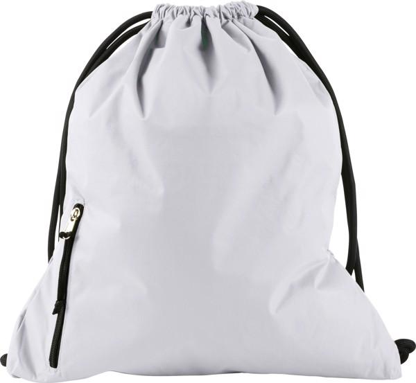 Pongee (190T) drawstring backpack - White