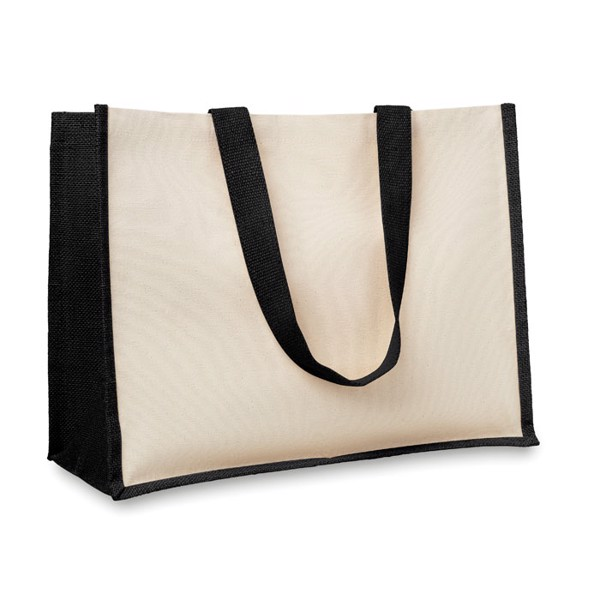 Jute and canvas shopping bag Campo De Fiori - Black