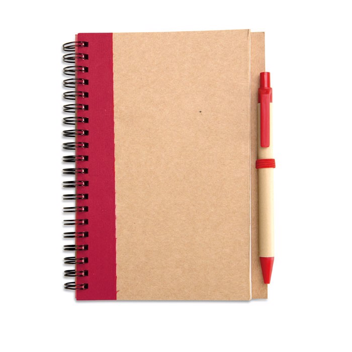 Recycled paper notebook + pen Sonora Plus - Red