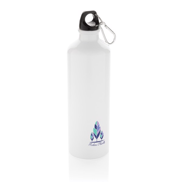 XL aluminium waterbottle with carabiner - White / Black