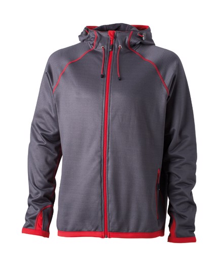 Men`S Hooded Fleece - Carbon / Red / 3XL