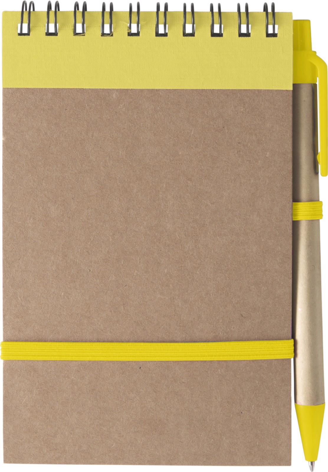 Bloc de notas de cartón y bolígrafo - Yellow