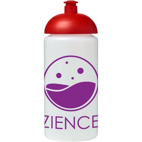 Sportovní láhev s kupolovitým víčkem Baseline® Plus grip 500 ml - Průhledná / Červená s efektem námrazy