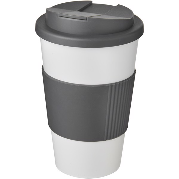 Americano® 350 ml tumbler with grip & spill-proof lid - Biały / Szary