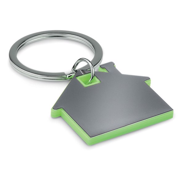 House shape plastic keyring Imba - Lime