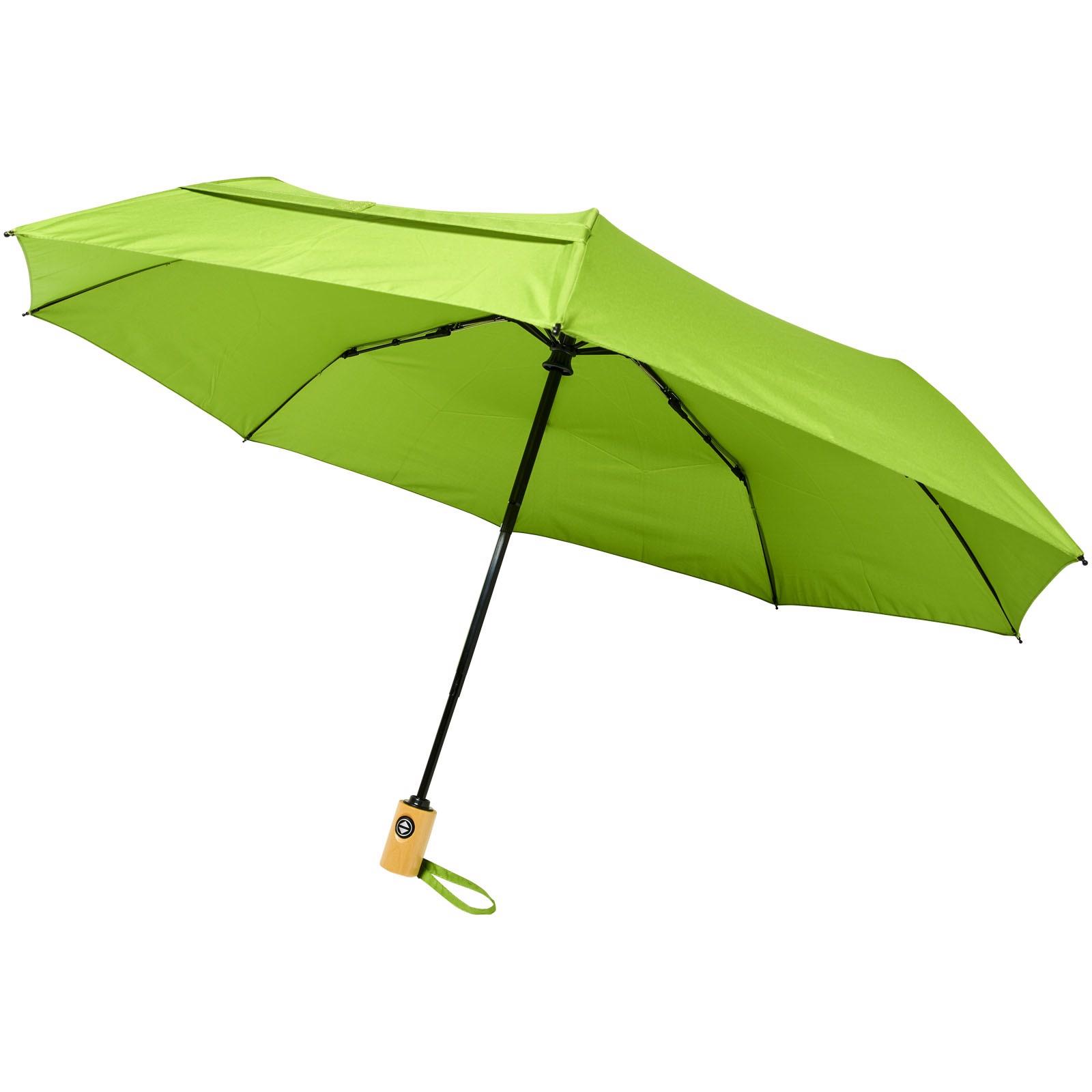 """Skládací deštník z recyklovaného PET s automatickým otevíráním/zavíráním Bo 21"""" - Limetka"""
