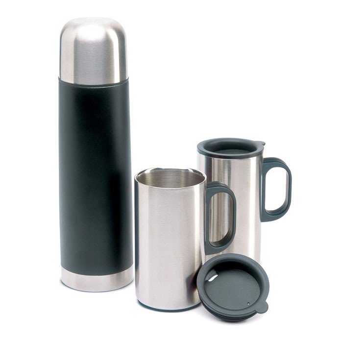 Insulation flask with 2 mugs Isoset