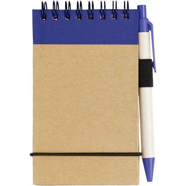 Zápisník A7 Zuse s perem z recyklovaného papíru - Přírodní / Navy