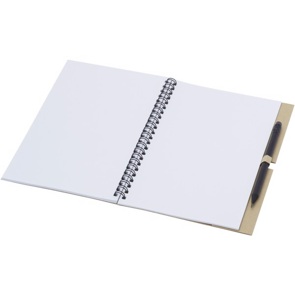 Luciano Eco wire notebook with pencil - medium - Natural