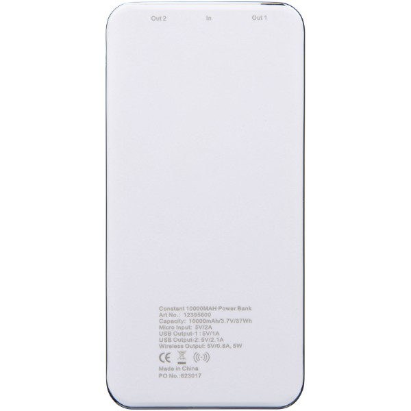 Constant 10.000 mAh wireless power bank with LED - White