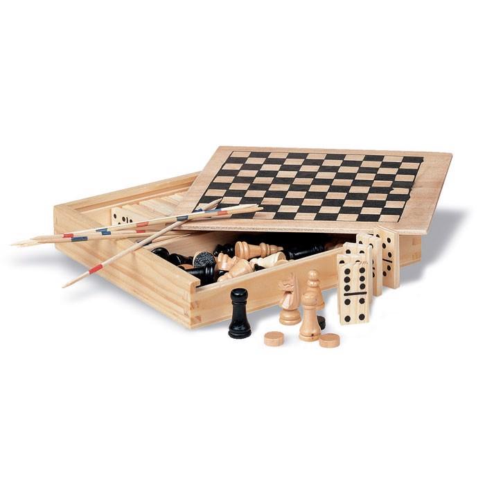 4 družabne igre v leseni škatli Trikes