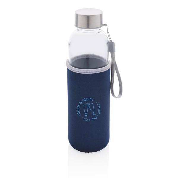 Skleněná lahev v neoprenovém obalu - Modrá