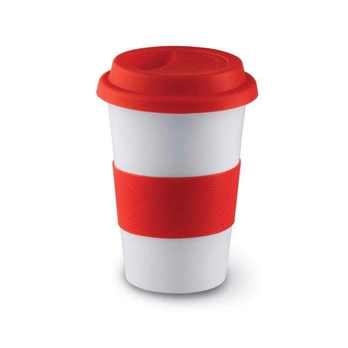 Ceramiczny kubek z przykrywką Tribeca - czerwony