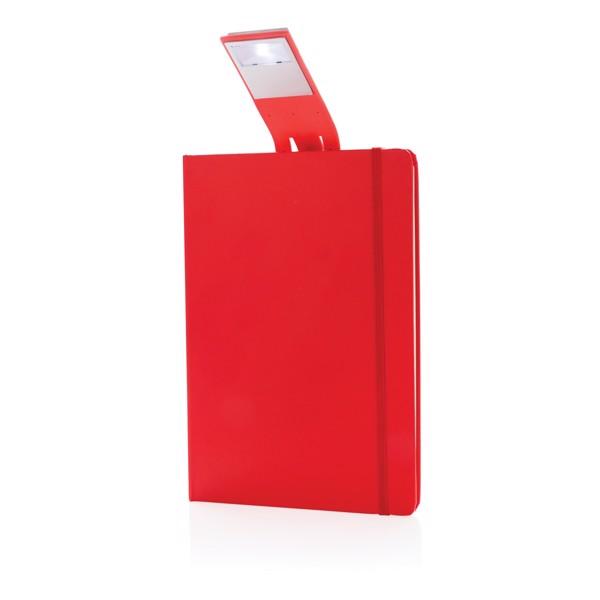 Poznámkový blok A5 s LED záložkou - Červená