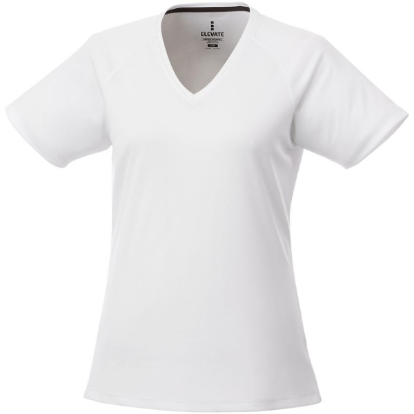 Amery short sleeve women's cool fit v-neck shirt - White / XXL