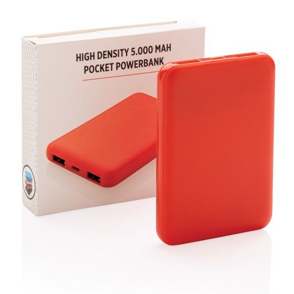 Kapesní powerbanka s vysokou hustotou baterie 5 000 mAh - Červená